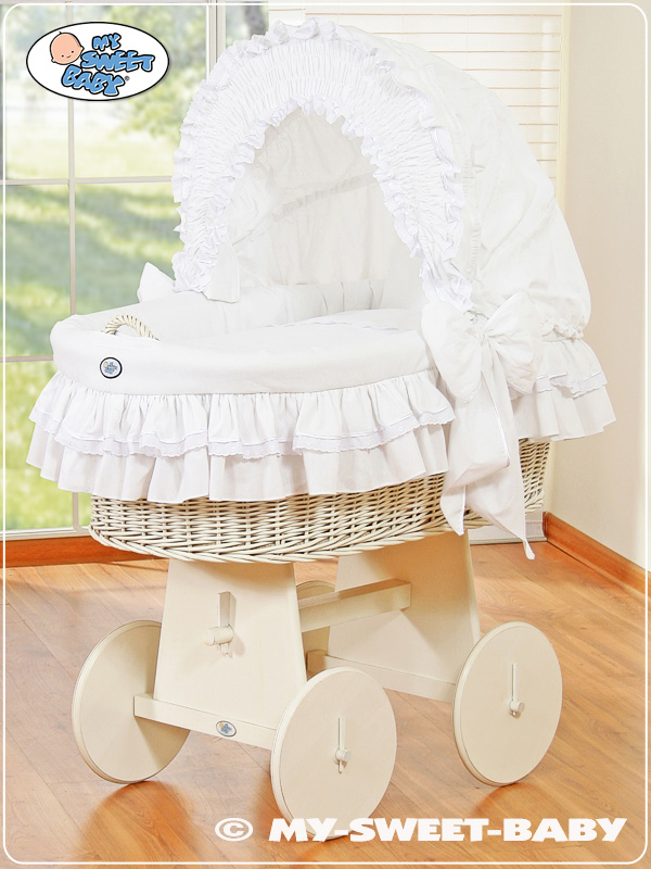 LITTLE PRINCE//PRINCESS BABY WICKER CRIB MOSES BASKET WITH HOOD /& BEDDING