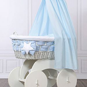 Moses baskets/Wicker crib wit drape - big wheels