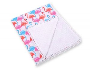 Double-sided blanket minky with pompons - flamingo