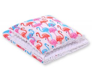 Set: Double-sided blanket minky + pillow-  flamingo