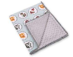 Double-sided blanket minky with pompons -mint animals