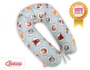 Pregnancy pillow-  mint animals