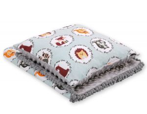 Set: Double-sided blanket minky + pillow- mint animals