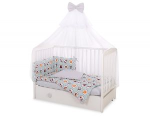 Bedding set 5-pcs with mosquito-net -  mint animals