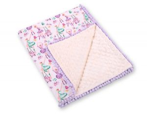 Double-sided blanket minky with pompons -  ballerinas lilac