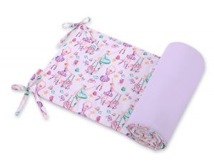 Universal bumper for cot  -  ballerinas lilac