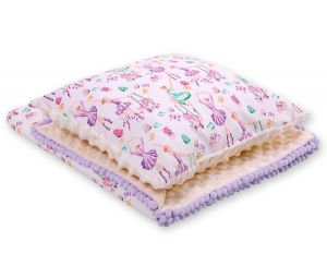 Set: Double-sided blanket minky + pillow- ballerinas lilac