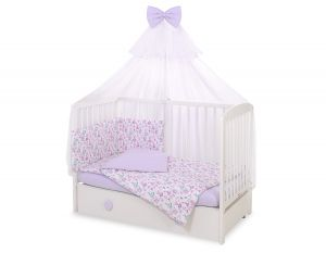 Bedding set 5-pcs with mosquito-net - ballerinas lilac