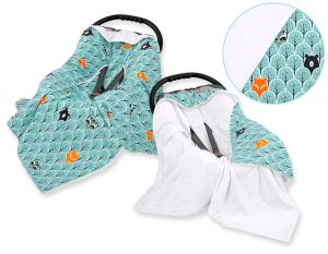Double-sided car seat blanket - mint forest