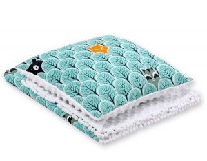 Set: Double-sided blanket minky + pillow- mint forest