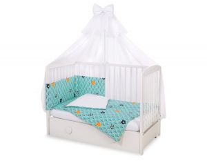 Bedding set 5-pcs with mosquito-net - mint forest