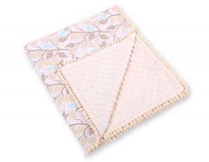 Double-sided blanket minky with pompons - beige leaves