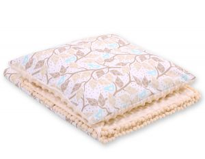 Set: Double-sided blanket minky + pillow- beige leaves