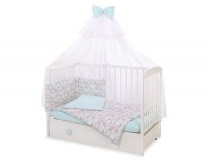 Bedding set 5-pcs with mosquito-net - beige leaves
