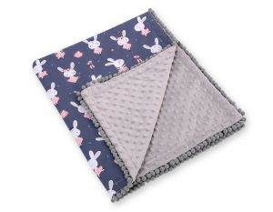 Double-sided blanket minky with pompons - blue rabbits