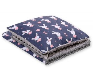 Set: Double-sided blanket minky + pillow- blue rabbits