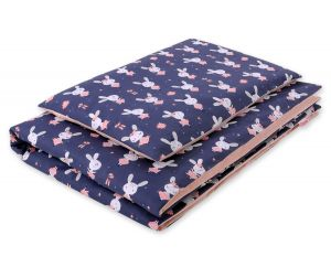 Bedding set 2pcs 100x135 Mini - rabbits navy blue