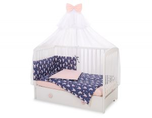Bedding set 5-pcs with mosquito-net - rabbits navy blue