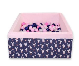 Ball-pit minky with balls 200pcs - blue rabbits