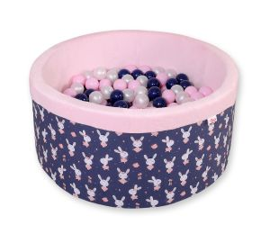 Ball-pit minky  with balls - blue rabbits