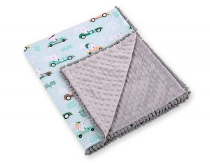 Double-sided blanket minky with pompons - mint rabbits