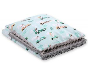 Set: Double-sided blanket minky + pillow- mint rabbits