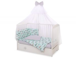 Bedding set 5-pcs with mosquito-net -  mint rabbits