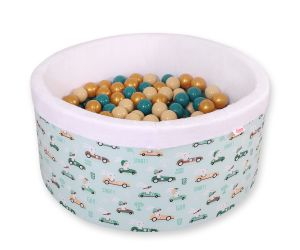 Ball-pit minky  with balls - mint rabbits