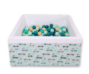 Ball-pit minky with balls 200pcs - mint rabbits