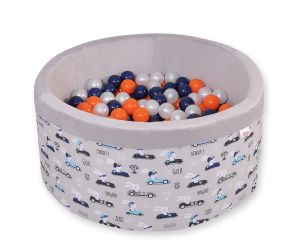 Ball-pit minky  with balls - gray rabbits