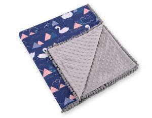 Double-sided blanket minky with pompons - Swans navy blue