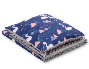 Set: Double-sided blanket minky + pillow- Swans navy blue
