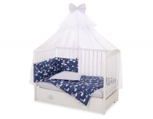 Bedding set 5-pcs with mosquito-net - Swans navy blue