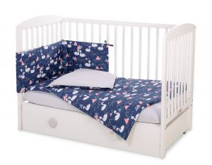 Bedding set 3-pcs - Swans navy blue