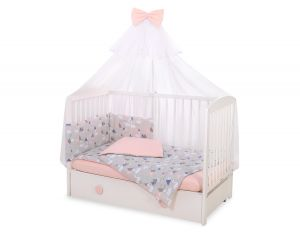 Bedding set 5-pcs with mosquito-net -  Swans gray