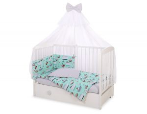 Bedding set 5-pcs with mosquito-net - mint ships