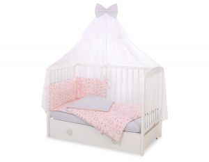 Bedding set 5-pcs with mosquito-net -  ballerinas pink