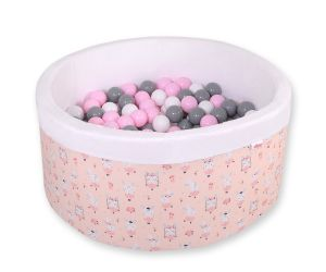 Ball-pit minky with balls - ballerinas pink