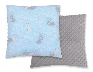 Doublesided Pillow - blue rabbits