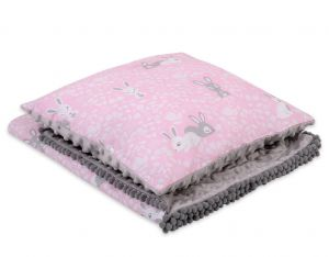 Set: Double-sided blanket minky + pillow- pink rabbits