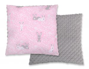 Doublesided Pillow - pink rabbits