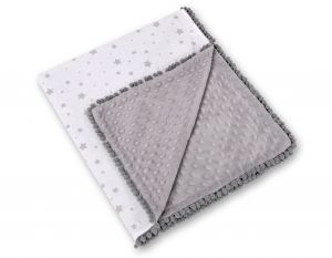 Double-sided blanket minky with pompoms - mini gray stars