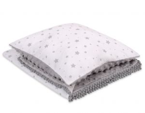 Set: Double-sided blanket minky + pillow- mini gray stars