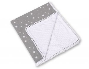 Double-sided blanket minky with pompoms - mini stars white