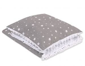 Set: Double-sided blanket minky + pillow- mini white stars
