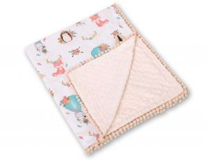 Double-sided blanket minky with pompoms - foxes beige