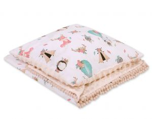 Set: Double-sided blanket minky + pillow- foxes beige