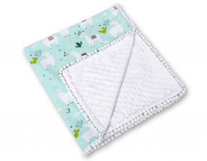 Double-sided blanket minky with pompoms - lama mint