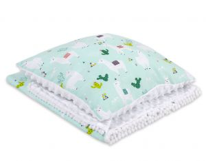 Set: Double-sided blanket minky + pillow- lama mint