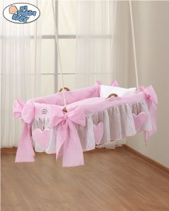 Cover set 2 pcs for Moses Basket/Hanging wicker crib no. 1478-122 Amelie pink